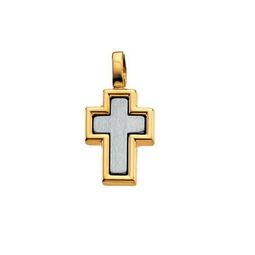 Jewelryweb 14k Yellow Gold Cross Pendant16.5x12.5