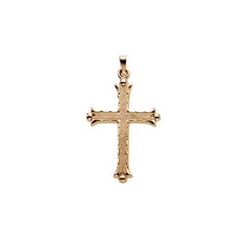 Jewelryweb 14k Yellow Gold Cross Pendant33x23.5mm
