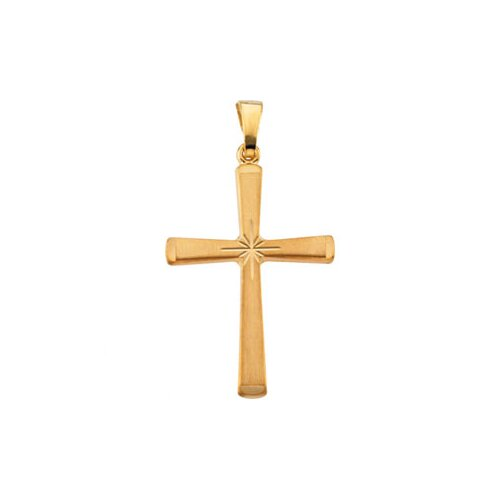 Jewelryweb 14k Yellow Gold Cross Pendant24x17.5mm
