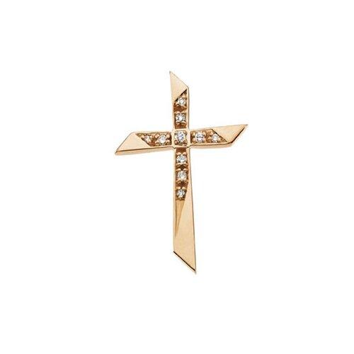 14k Yellow Gold Cross PendantWith Diamond 26.5x18mm