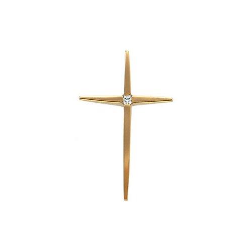 14k Yellow Gold Cross PendantWith Diamond 28.5x18.25mm