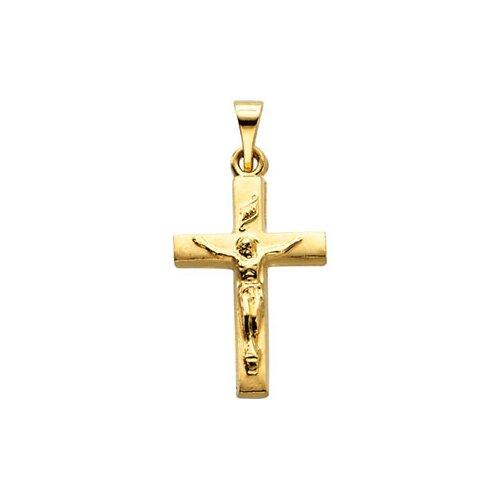 Jewelryweb 14k Yellow Gold Crucifix Pendant17x12mm