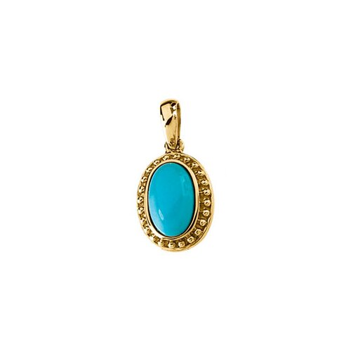 14k Yellow Gold Genuine Cab. Turquoise Pendant11x7