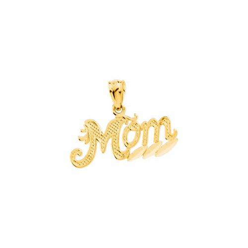 Jewelryweb 14k Yellow Gold Mom Pendant9.25x20.5mm
