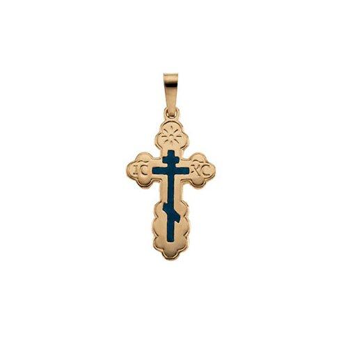 14k Yellow Gold Orthodox Cross Pendant Blue Inlay