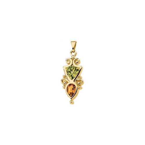 14k Yellow Gold Peridot And Citrine Pendant