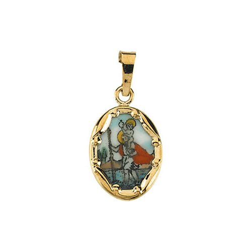 14k Yellow Gold Porcelain St. Christopher Pendant
