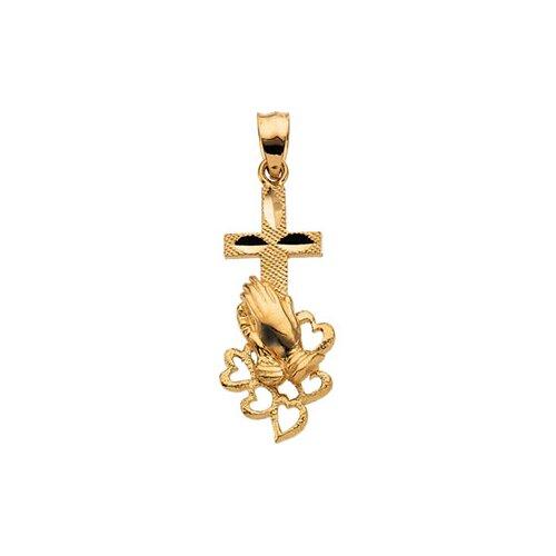 Jewelryweb 14k Yellow Gold Praying Hands Cross Pendant