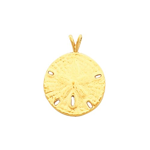 Jewelryweb 14k Yellow Gold Sand Dollar Pendant