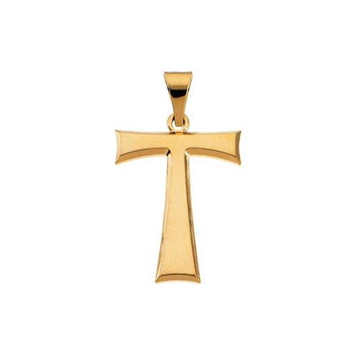 14k Yellow Gold Tau Cross Pendant19x16mm