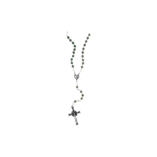 Jewelryweb Sterling Silver Aventurine Rosary Necklace