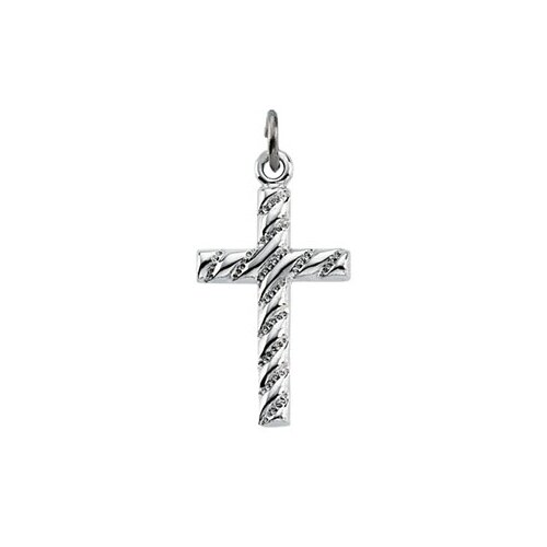Jewelryweb Sterling Silver Cross Pendant 19x12mm