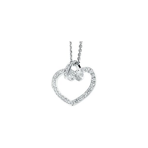 Jewelryweb Sterling Silver CZ Heart Necklace CZ Heart Necklace