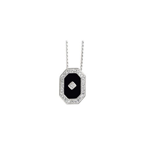 Sterling Silver Genuine Onyx And CZ Necklace 13x9mm
