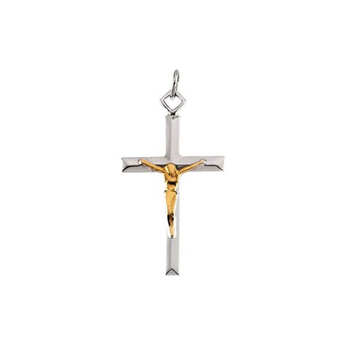 Jewelryweb Sterling Silver Two-Tone Crucifix Pendant29x18mm