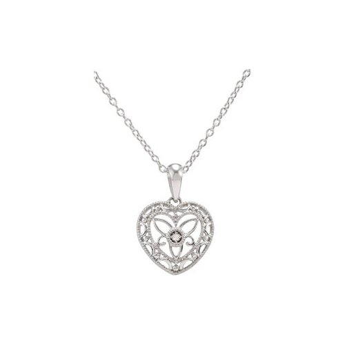 Sterling Silver Diamond Heart Necklace 18 Inch5ct