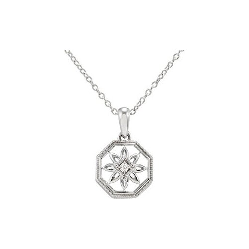 Jewelryweb Sterling Silver Diamond Necklace 18 Inch.02ct