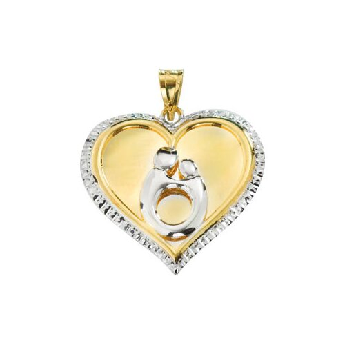 Jewelryweb 10k Yellow Gold Heart Shaped Mother and Child PendantWith Rhodium Plating 22.75x22.25mm