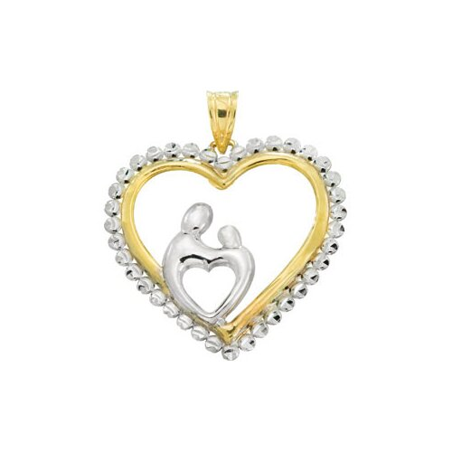 Jewelryweb 10k Yellow Gold Heart Shaped Mother and Child PendantWith Rhodium Plating 23x22.75mm