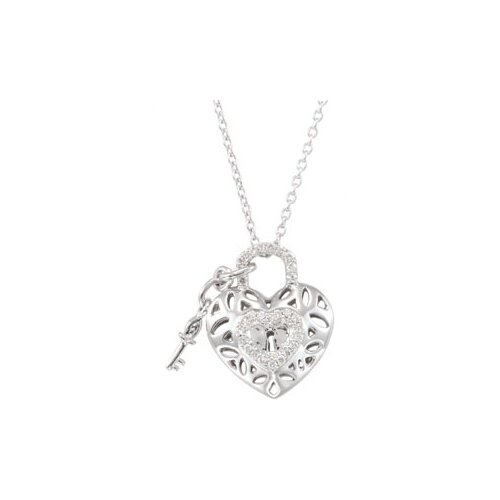 Sterling Silver Diamond Heart Necklace 1/6ct 18 Inch