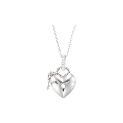 Sterling Silver Diamond Heart Necklace .05ct 18 Inch