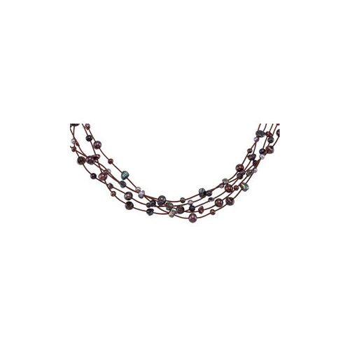 Sterling Silver Freshwater Cultured Multi Color Pearl Smoky Quartz Necklace ...