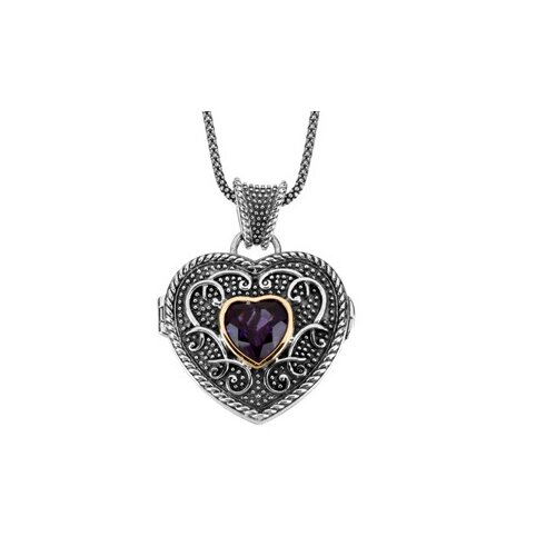 Jewelryweb Sterling Silver Genuine Amethyst Heart Locket Necklace 1mmWith 18 InchChain