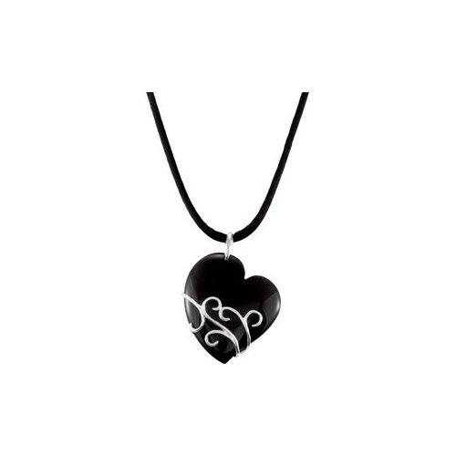 Sterling Silver Genuine Onyx Heart Pendant37x31.5mm