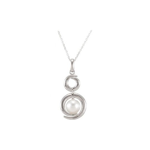 Jewelryweb Sterling Silver Freshwater Cultured Pearl Pendant8-8.5mm