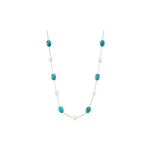 Sterling Silver Freshwater Cultured Pearl and Genuine Turquoise Necklace 7.5-8mm12x9mm42 Inches