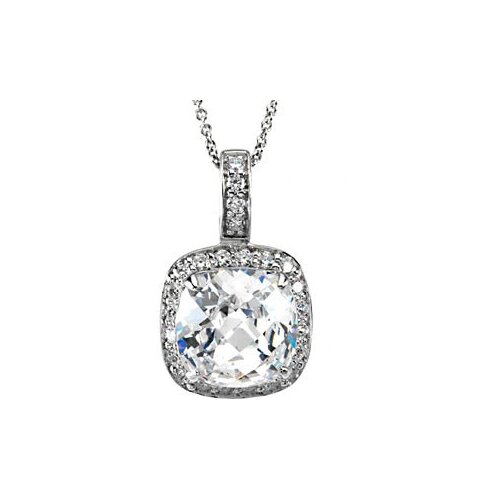 Jewelryweb Sterling Silver CZ Necklace 18 Inch