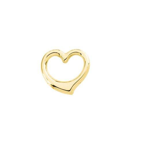 Jewelryweb 14k Yellow Gold Heart Chain Slide