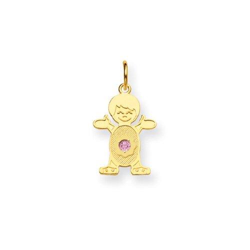 Jewelryweb 14K Boy 2.5mmSynthetic Birthstone Pendant