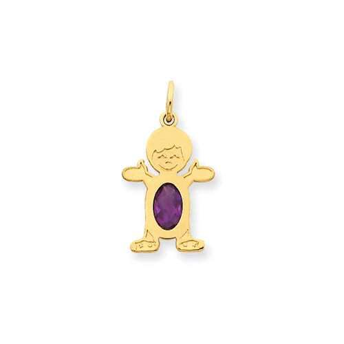 14K Boy Oval Genuine Amethyst February Pendant