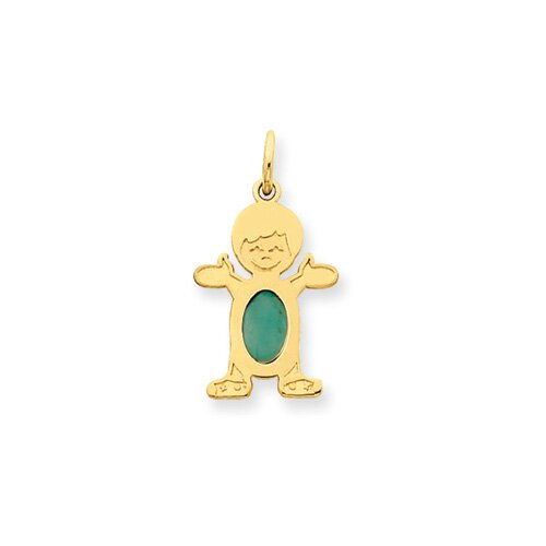 14K Boy Oval Genuine Emerald May Birthstone Pendant