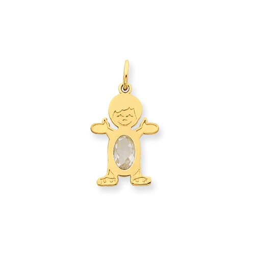 14K Boy Oval Genuine White Topaz April Pendant