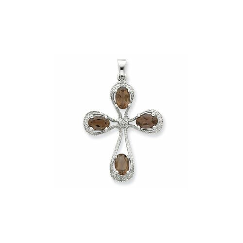 Jewelryweb Sterling Silver Diamond Cross Pendant
