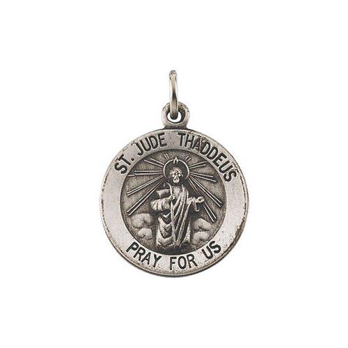 Jewelryweb Sterling Silver Round St. Jude Thadeus Pendant Medal