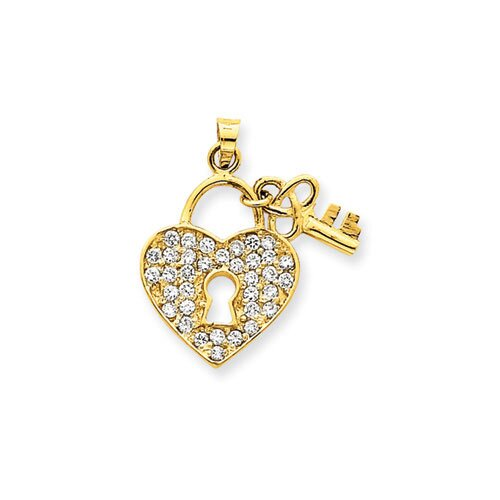 Jewelryweb 14K CZ Heart With Key Pendant