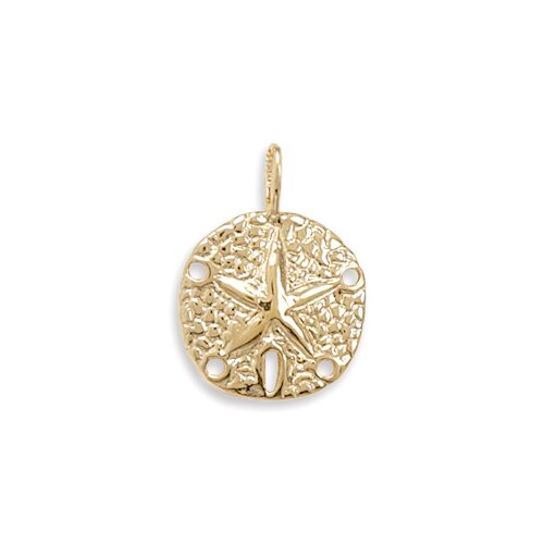 Jewelryweb 14 Karat Gold Plated Sterling Silver 25mm X 18mm Sand Dollar Pendant With Silver Accents Charm