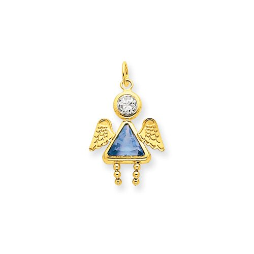 14K March Girl Angel Birthstone Charm