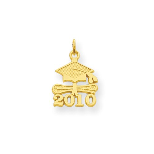 14K Solid Satin Polished 2010 Graduation Charm