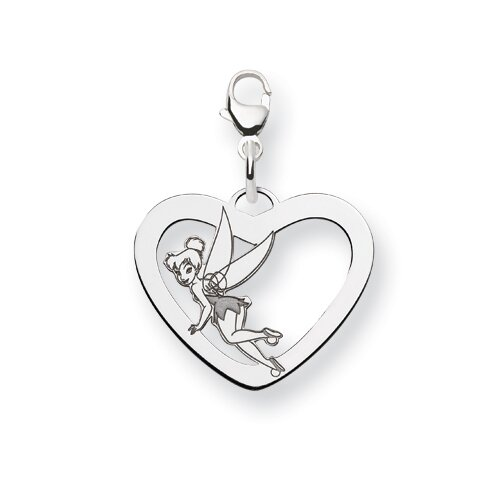 Sterling Silver Disney Tinker Bell Heart Lobster Clasp Charm
