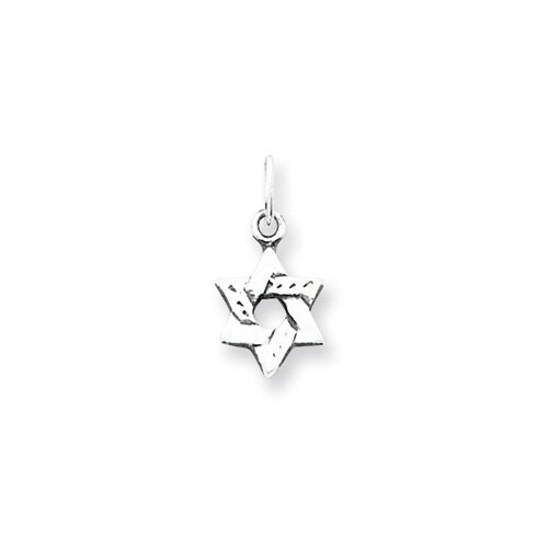 Jewelryweb Sterling Silver Small Star of David Charm