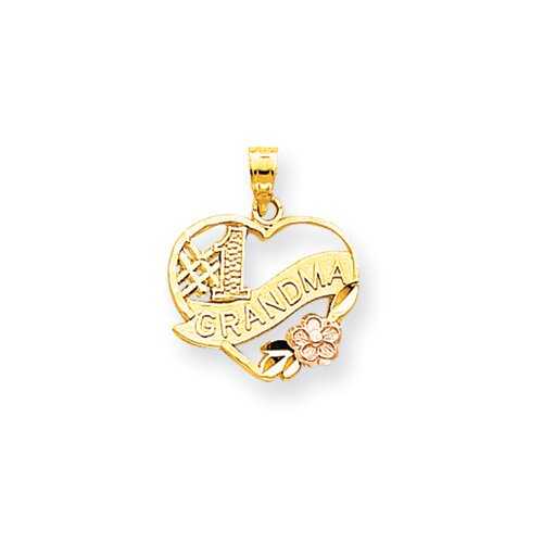 Jewelryweb 10K Two-Tone Number 1 Grandma Heart Charm