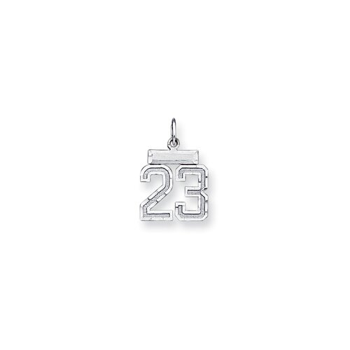 Jewelryweb Sterling Silver Small Number 23 Charm