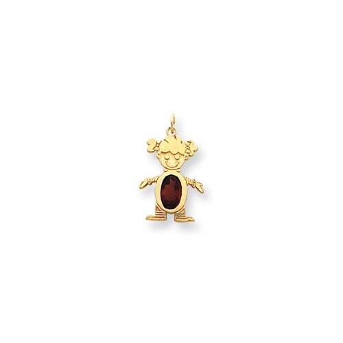 14k Girl Birthstone Charm