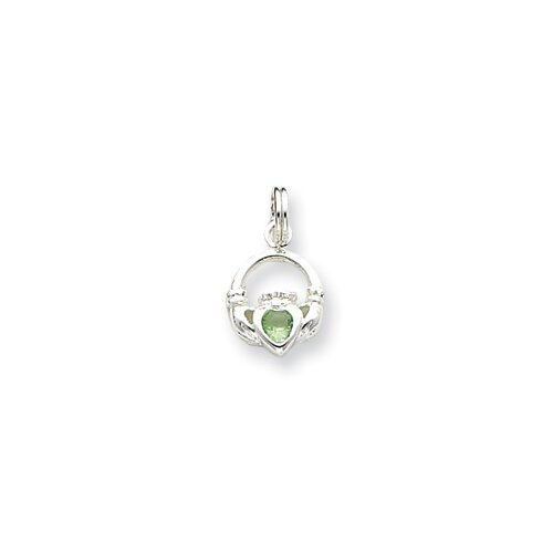 Jewelryweb Sterling Silver Claddagh with Green CZ Charm