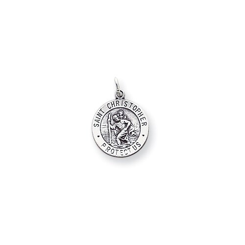 Sterling Silver Saint Christopher Two Circle Medal Charm