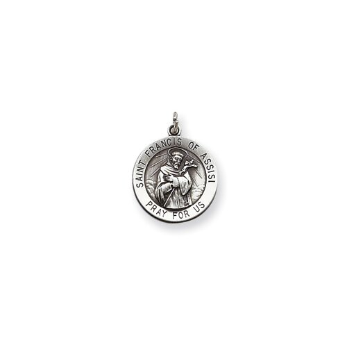 Sterling Silver Saint Francis Of Assisi Medal Charm